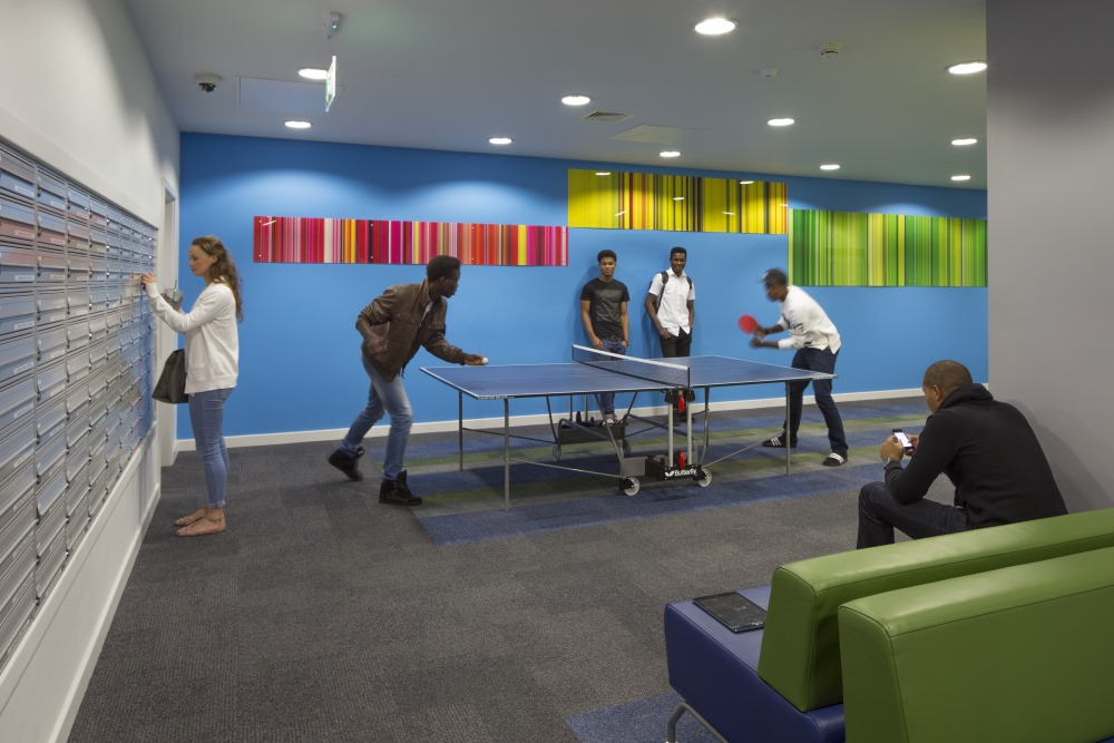 Games and recreation room at Global Point student residence